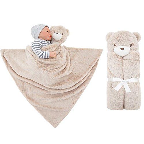 Vine Couverture de bébé ultra douce avec capuche et animal en peluche 76x76cm(Ours Bleu)