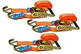 Red Tools Spanngurt Ratschenspanngurt 6 Meter Lang 35 mm Lang bis zu 2 Tonnen im 3 TLG. Set...