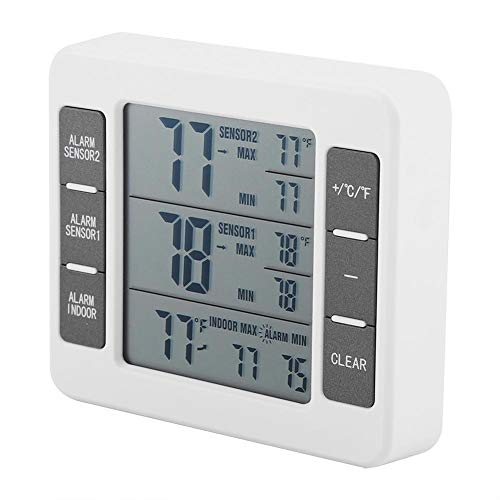 FTVOGUE Termómetro digital inalámbrico para frigorífico con alarma acústica y termómetro para congelador con 2 sensores y pantalla mínima y máxima
