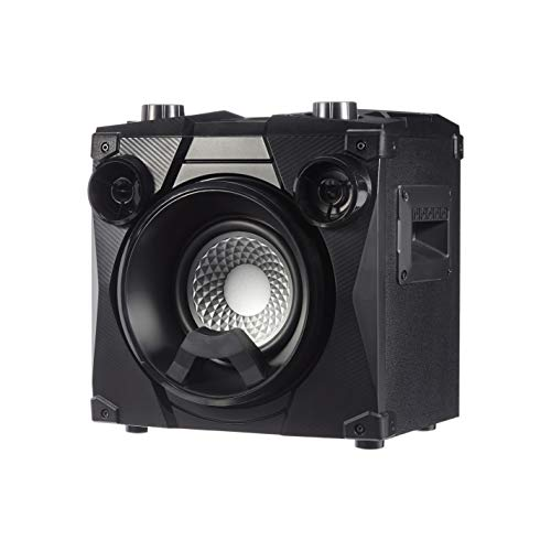 AmazonBasics Party Speaker - Wireless PA Speaker with Lights, Radio, Bass Boost, Mic Input and USB Charging