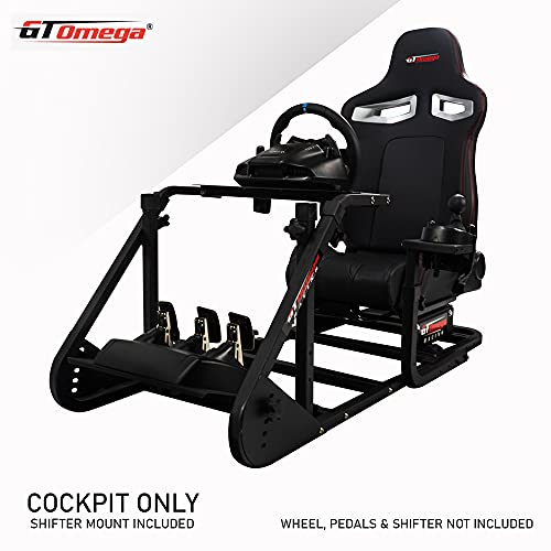 GT Omega ART Racing Simulator Cockpit RS9 Gaming Console Seat for Thrustmaster T300RS Steering Wheel Pedals & TH8A, TH8RS Shifter TX Ferrari 458 Italia PS4 Xbox, with Stand & Reclinable Chair Rails