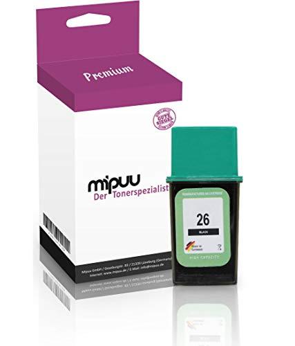 Mipuu Cartucho de Tinta Compatible con HP 26 51626AE Negro Black para OfficeJet 330 350 370 380 300 DeskJet 400 520 540 550 DesignJet 600 Alcatel Fax 210 200 220 3755
