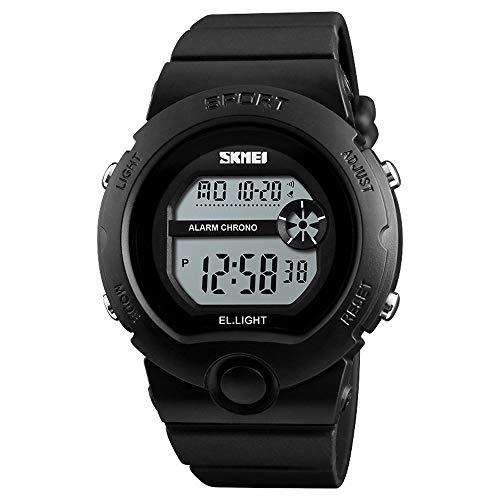 Student Uhr, einfache Sportuhr mit Zwei-Farben-Dial for Jungen und Mädchen, Wecker-Kalender-Lauf Sekunden-Tag Anzeige Multifunktions-Uhr-Geschenk (Color : Blue)