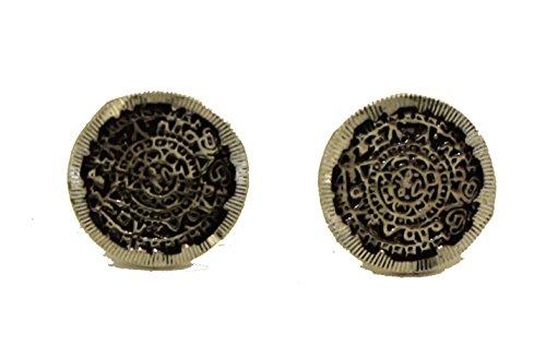 Aztec Calendar Stud Earrings Taxco Mexico Fine .950 Sterling Silver - Aztec Sun