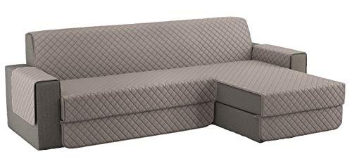 Fundas para Sofa Acolchado, Funda Sofa Chaise Longue Brazo Chaise Derecho / Izquierdo (250 CM), Cubre Sofa Reversible, Gris Claro
