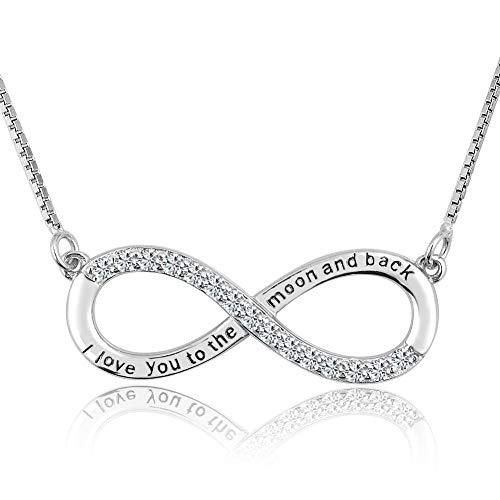 Poetic Charms Infinity Unendlichkeit Infinity Ich liebe dich bis zum Mond und zurück Halskette 925 Sterling Silber Zirkonia Anhänger Kette