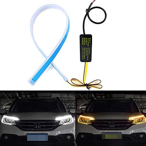 Fulintech - 2 tubos de tira LED de 45 cm de doble color blanco/secuencia amarilla, luces de circulación diurna flexibles DRL para faros delanteros y luces de giro