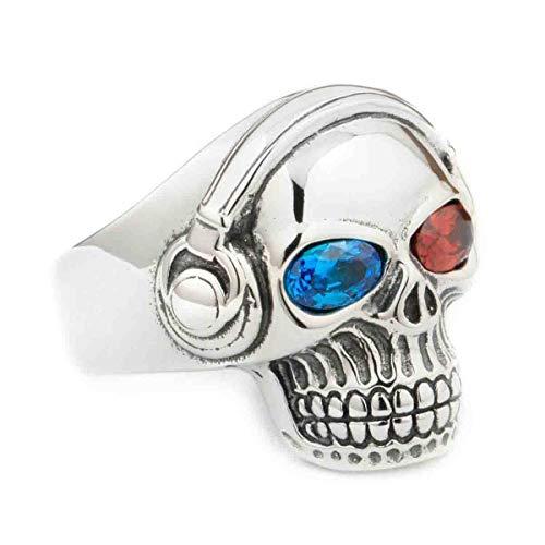 Ccgdgft Verrückter Rock Ring Blau und Rot CZ Augen Musik-Schädel-Kopfhörer Jewerly 8Y711 (Size : Z3)