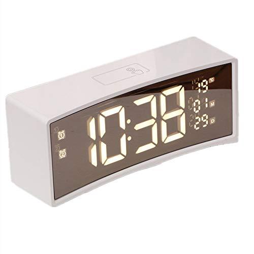 Wekker, multifunctionele led-digitale wekker, werkt op batterijen, 3D-scherm met gebogen oppervlak, drijvend gevoel, sluimerfunctie, 3 instelbare helderheid, temperatuur en datum