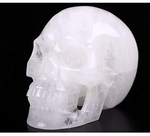 Skullis 5.0' Quartz Rock Crystal Skull, Hand Carved Gemstone Fine Art Sculpture, Reiki Healing Stone Statue.