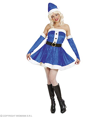 Déguisement Père Noël bleu luxe femme Babba Miss Santa Claus taille l