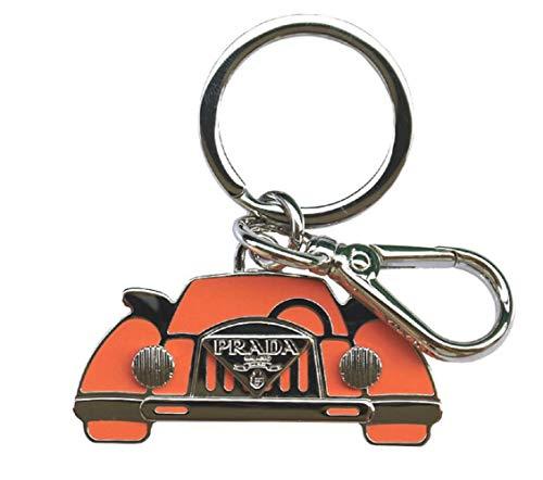 Prada Orange Silver Logo Vintage Car Keychain Charm 1PS530 (Orange)