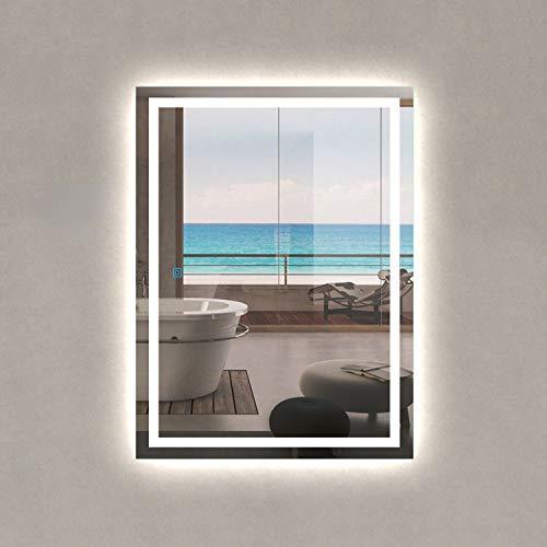 Espejo de Pared con Iluminación LED Espejo de Baño Moderno con Interruptor Táctil , Función Anti-Niebla y Dos Maneras de Colgar Adecuado para Baño y Dormitorio