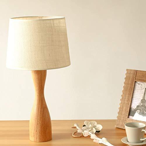 Luces de interior Mesita de noche Lámparas, Mesilla de noche DSEK de la lámpara con la tela de sombra y bajo sólido de madera for el dormitorio, sala de estar moderna, Oficina Lámpara de mesa LED de b