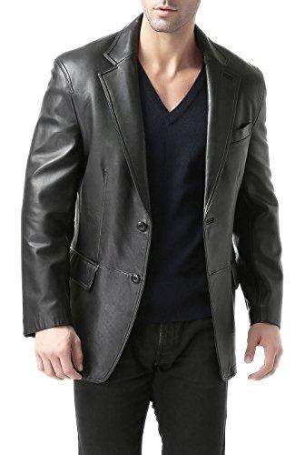 BGSD Men's Black Leather Blazer Lambskin Sport Coat Jacket 2-Button Sportcoat Large Long