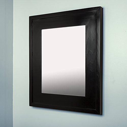 "Fox Hollow Furnishings 13"" x 16"" Mirrored Medicine Cabinet (Black)"