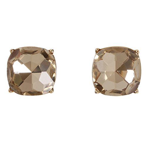 Humble Chic Faceted Square Glitter Stud Earrings for Women - Cushion Cut Statement Post Ear Studs - Gold-Tone 4-Prong Set Big Sparkly Jewels, Simulated Topaz, Simulated Citrine, Champagne, Nude