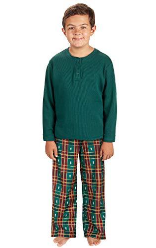 PajamaGram Big Boys' Flannel Classic Plaid Pajamas with...