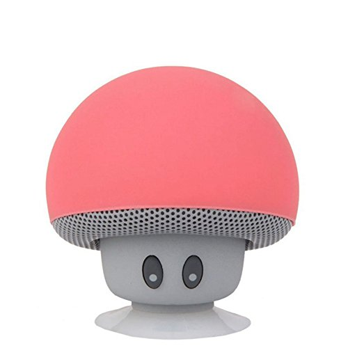 TinyFin Mini Bluetooth Wireless Portable Mushroom Speaker with Sucker Function Red for iPhone Samsung and More