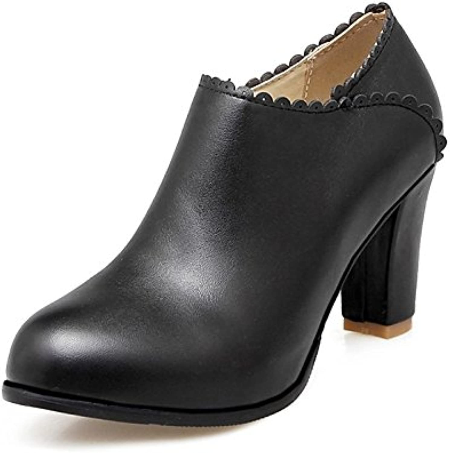 HSXZ Women's shoes Leatherette Spring Fall Bootie Boots Chunky Heel Round Toe Booties Ankle Boots for Wedding Office\Career Pink Black White