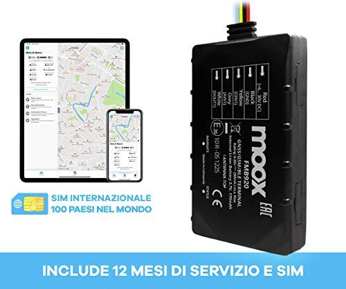 MOOX Localizzatore GPS tracker FMB920 con 12 MESI di traffico SIM in oltre 100 paesi nel mondo, nessun obbligo di rinnovo.