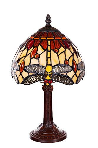 Lampe im Tiffany-Stil 8 Zoll Libelle, edel, Rose Dekorationslampe, Tiffany Stil, Glaslampe, Leuchte,Tischlampe, Tischleuchte (Tiff 157)