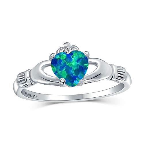 Celta Irlandés Amistad Parejas Esa Azul Opal Claddagh Anillo Creada Para Adolescentes Mujer Octubre Piedra Nacimiento
