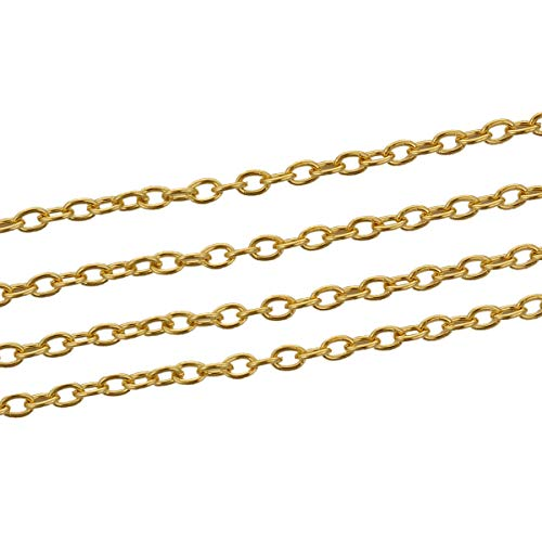 SiAura Material ® - 10m Kreuzkette/Schmuckkette, oval, vergoldet, 5x3mm