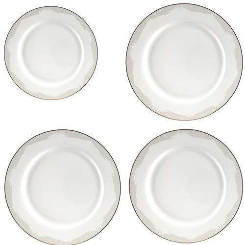 GuangYang - Piatto piano in porcellana bianca da 20,3 cm, 3 pezzi da 26,7 cm, elegante piatto rotondo per bistecca, pasta, insalata, feste (totale 4 pezzi)