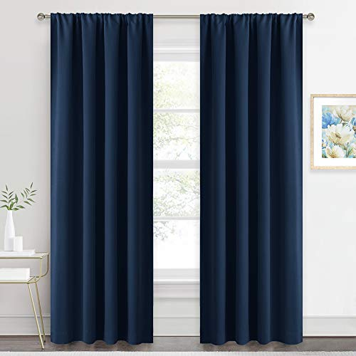 RYB HOME Long Curtain Panels - Country Curtains Window Decor Sunlight Shade Blind for Sliding Glass Door Family Room Living Room Cabin, 42 inches Wide x 84-inches Long, Navy Blue, 2 Pcs