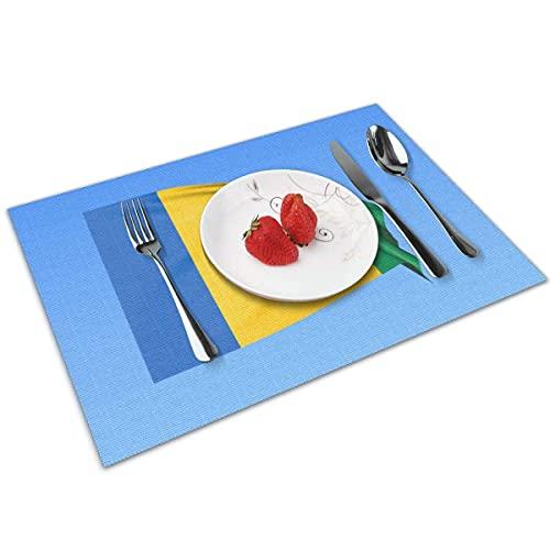 N\A Winkende Flagge von Saint Vincent Place Tischmatte Waschbare rutschfeste dekorative Esstischdecke 4er-Set