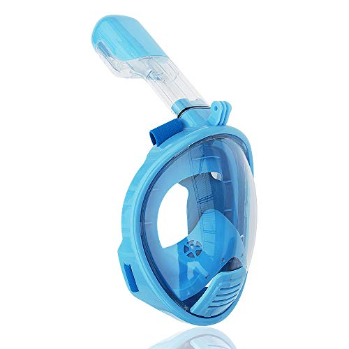 roadwi Tauchmaske,Vollgesichts Schnorchelmaske easybreath Set, Anti-Fog Anti-Leck,180° Sichtfeld und Kamerahaltung für Kinder & Erwachsene