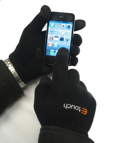 Etouch Touchscreen Gloves, for iPhone, iPad, Blackberry, Samsung, HTC and other smartphones, PDA's & Sat navs, Black (M/L)