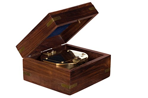 Dekorativer voll Funktionsfähiger großer nautischer Kompass 13021 aus Messing in edler Geschenk Holzbox Nautik Optik, Boot, Schiff, Maritim, Nostalgie