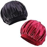 Bonnet de Sommeil,2 Pièces Satin Capuchon de Sommeil Élastique Large Bande Sommeil...