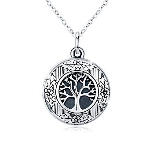 Lebensbaum Kette Medaillon Halskette 925 Sterling Silber Foto Bilder Kette Anhänger Halskette Oxidiert Baum des Lebens Amulett Familie Muttertags Geschenk für Damen Mutter Mädchen