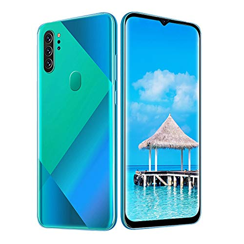 sjlerst Versione Internazionale Smartphone, Metal Green Fingerprint Face Unlock 6.7 inch Drop Screen Dual Card Dual Standby Smart Phone 6 + 64G 100-240V(Me)