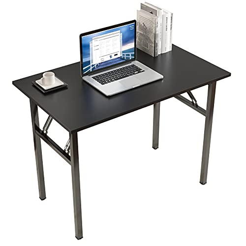 sogesfurniture Tavolo pieghevole, Scrivania da studio per ufficio, Tavolo da pranzo per workstation, Nessuna installazione necessaria, 100x60x75cm, Nero BHEU-LP-AC5BB-100