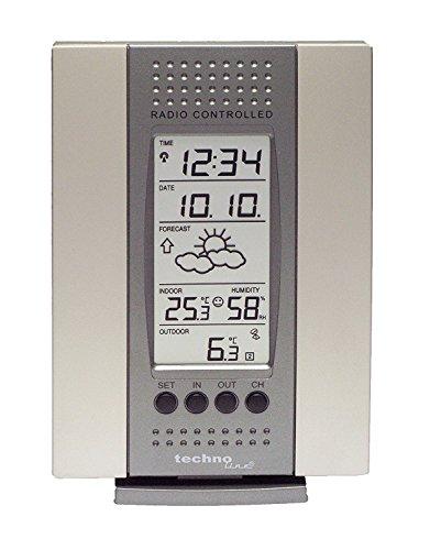 Technoline Wetterstation WS 7014-IT mit Vorhersage von Wettersituation, Anzeige von Wettertendenz und Innen- und Außentemperatur (anthrazit mit Batterien)