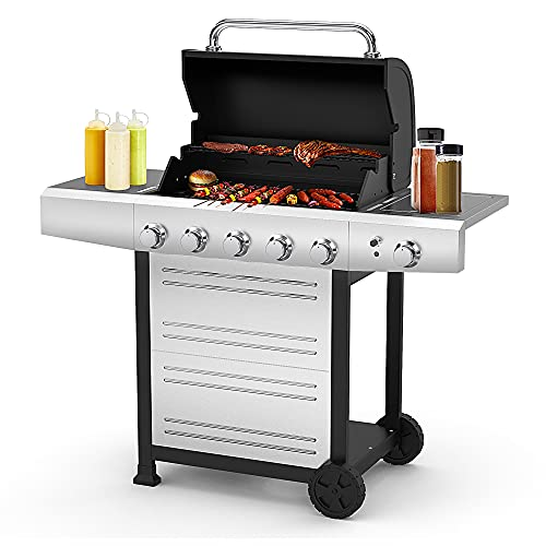 RINKMO Gas Grill with Side Burner, 670 Sq Inch 5 Burner...