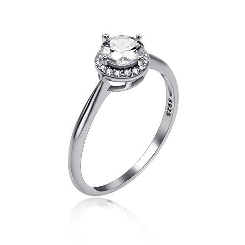 Uloveido Anillo de Bodas de Compromiso con Diamantes simulados chapados en Platino, Anillos de circonita cúbica de Plata de Ley 925 para Mujer LJ045 (Talla 14)