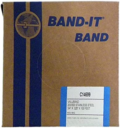 BAND IT Valuband Band C14699 200 300 Stainless Steel 3 4 Wide x 0 025 Thick 100 Foot Roll product image