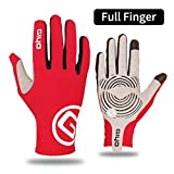 Non-Slip Gel Pad Bicycle Gloves Gel Pad Short Half Finger Bicycle Gloves Breathable Outdoor Sports Men's Mountain Bike Bicycle Gloves - Red Full Finger,S