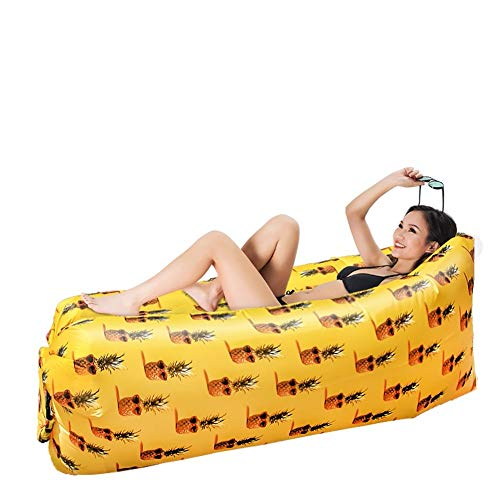H-ei Sofá Inflable Creativo Cama de sofá Perezoso Viaje al Aire Libre Ocio Familiar Ocio portátil Cama de Aire portátil 180 × 88 × 63 cm (Color : Pineapple)