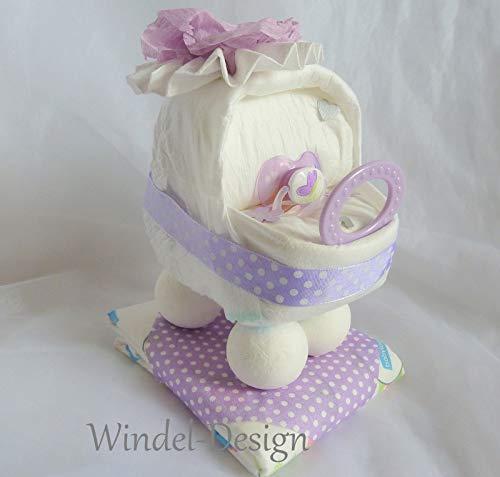 Windeltorte Windelwagen Mädchen ♥ Geschenk ♥ Babyparty ♥ Geburt oder Taufe ♥ auf Wunsch mit Grußkärtchen