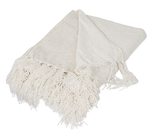 BIRDROCK HOME Internet's Best Chenille Throw Blankets - Ivory - Ultra Soft Couch Blanket with Fringe - Light Weight Sofa Throw - 100% Microfiber Polyester - Easy Travel - Bed - 50 x 60