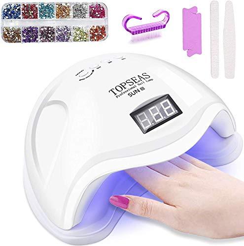 Lampada Unghie UV LED,72W Lampada UV Unghie Professionale per Manicure/Pedicure,4 Timers da 10s/30s/60s/90s,LCD Display Lampada per unghie per Gel Nail Polish Light
