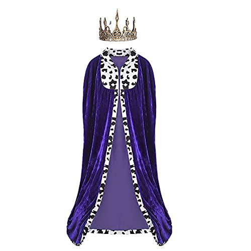 Proumhang Conjunto de Capa de Prncipe Real Disfraz Capa de Rey con Corona Dorada Carnaval de Halloween para Adultos Disfraz Medieval de Navidad Negro 170CM