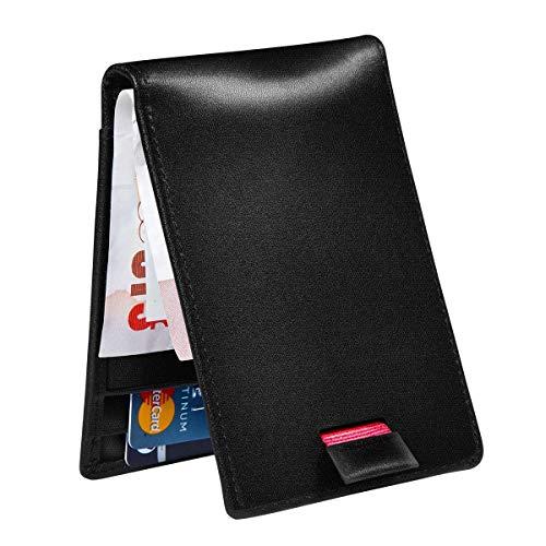 HBselect RFID Geldbörse Herren aus ECHT Leder 8 Kartenfächerunsichtbares Design für die Münzen Banknoten Dicke 8 mm Kreditkartenetui mit Geldklammer