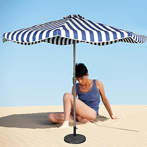 ACXZ 270 cm Parasol Sombrilla de Playa Sombrilla de Patio, Octogonal/Hierro, Sombrilla de Mesa de Mercado para césped/Piscina/Patio Trasero, 8 Varillas, Rayas Azules y Blancas